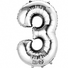 Number 3 Silver Mini Air-Fill Foil Balloon